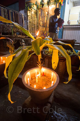 Candles in planters during the Diwali festival, Varanasi, India