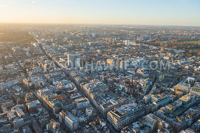 Aerial view of A40 Oxford Street , Oxford Circus, Berners Street, BBC Broadcasting House (London), West End, London.
