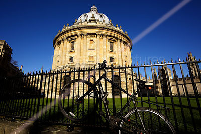 Radcliffe Camera in Oxford with Bicycles Chained to Railings