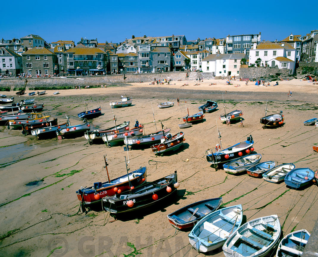 st ives harbour and town, penwith, cornwall.