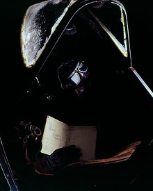 Cockpit of the oldest surviving World War II Spitfire. Doglas Bader's logbook, with leather helmet, face mask, goggles & gloves. At the RAF Museum, Hendon. 24 June 1974