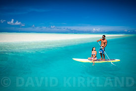 Couple Paddleboarding, Aitutaki Lagoon