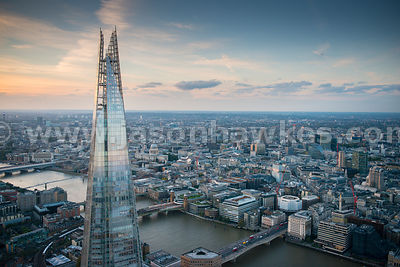 The Shard, London, Aerial view.