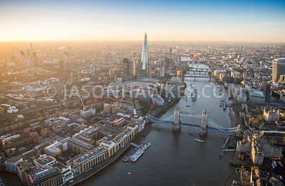 Aerial view of London, The Shard with 20 Fenchurch Street.