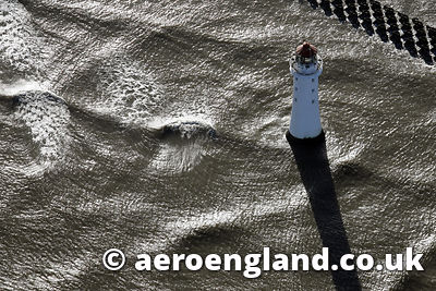 aerial photograph of  Lighthouse at  New Brighton    Merseyside UK