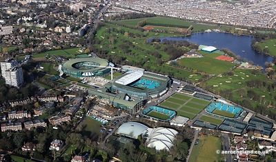 aerial photograph of the All England Lawn Tennis Club, Church Road, London, Wimbledon SW19 5AE, United Kingdom ‎