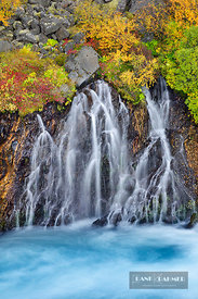 Waterfall at Hraunfossar - Europe, Iceland, Western Region, Hraunfossar - digital