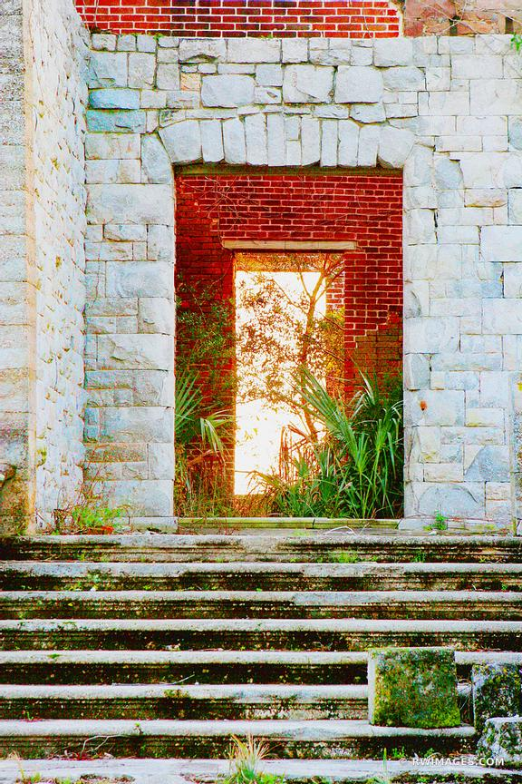 DOOR AT DUNGENESS MANSION RUINS CUMBERLAND ISLAND GEORGIA