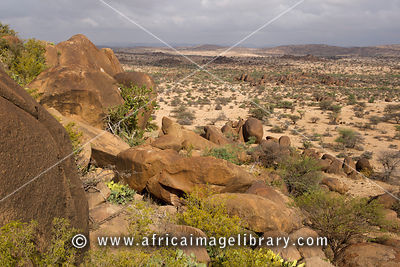 Scenery at the site of Dhagax Khoure, ancient  rock-art, Somaliland, Somalia