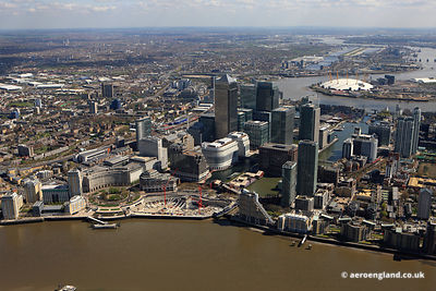 aerial photograph of London Docklands