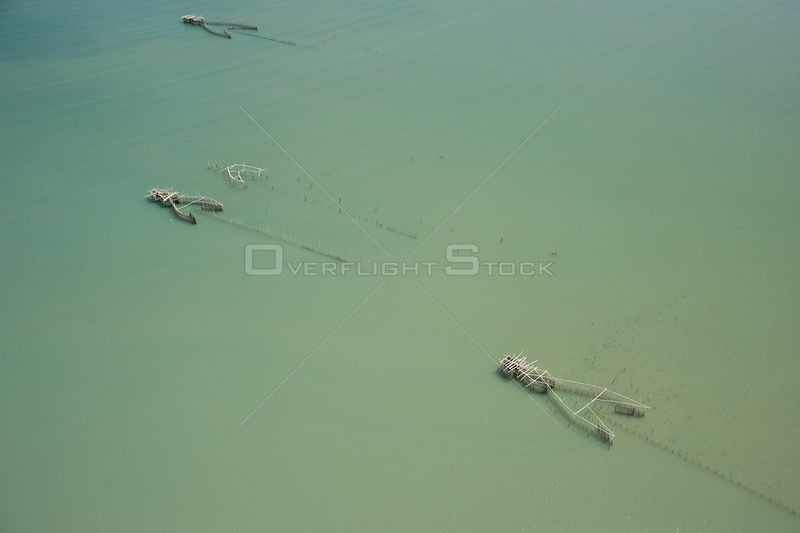 Aerial view of traditional fishing nets, Camarines Sur, Pacific Coast, Luzon, Philippines 2008