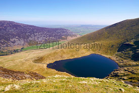 Aerial view of Bowscale Tarn in the English Lake District, UK.