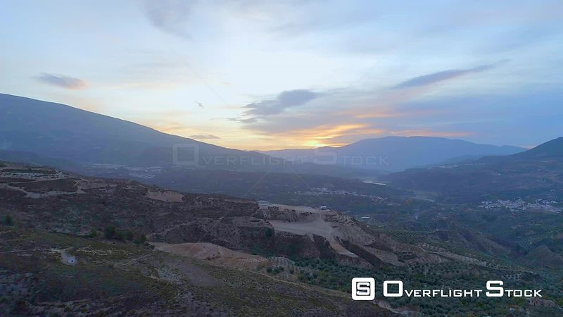 Drone Video Rural Valley at Sunrise Granada Spain