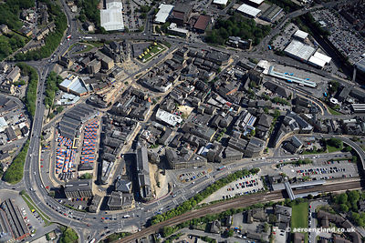 aerial photograph of Dewsbury West Yorkshire UK