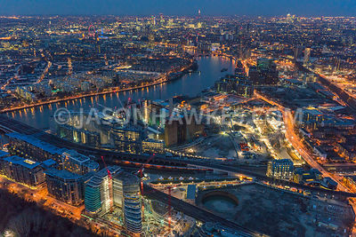 Night aerial view, Battersea, Batersea Power Station and Nine Elms. London. England.
