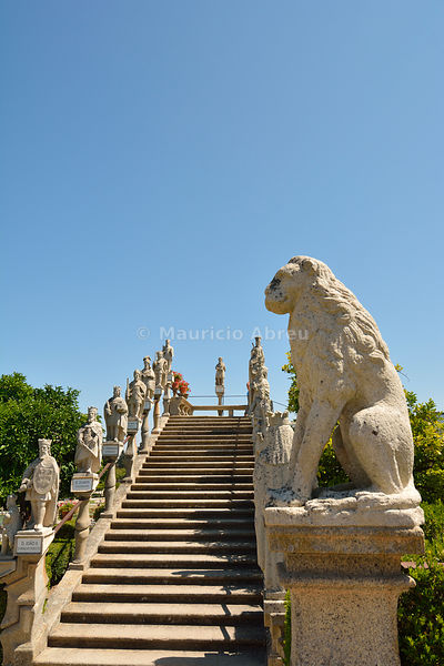 Portuguese Kings stairway in the gardens of the Paço Episcopal of Castelo Branco, founded in the 18th century by the Bishop João de Mendonça. Portugal