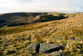 Ogwr Valley from Craig Y Geifr, Bwlch Y Clawdd, South Wales Valleys, UK