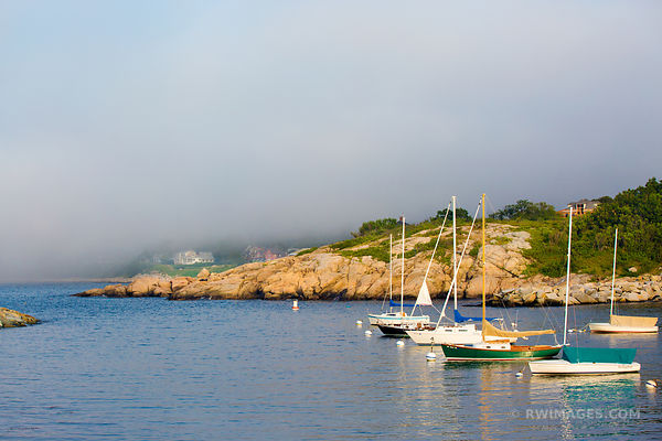 FOG SAILBOATS IN HARBOR ROCKPORT FISHING VILLAGE CAPE ANN MASSACHUSETTS COLOR