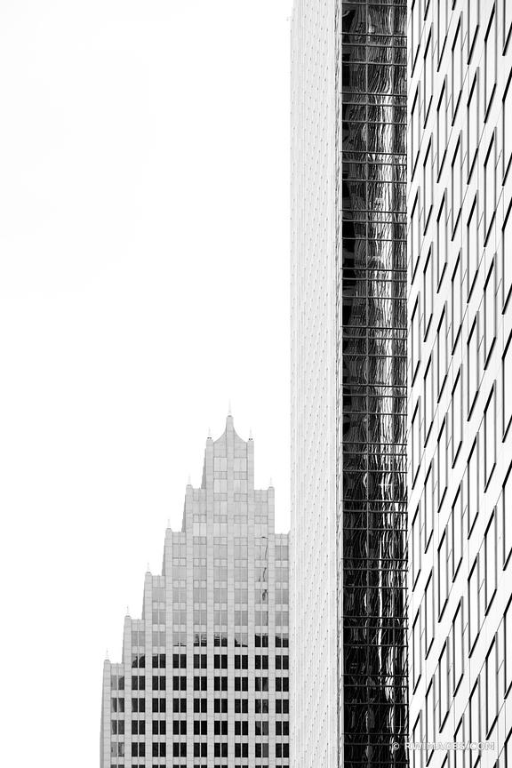 HOUSTON DOWNTOWN ARCHITECTURE TEXAS BLACK AND WHITE