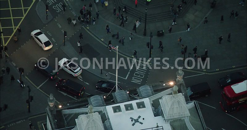 London Aerial Footage of Piccadilly Circus in the evening.