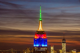 Empire State Building lit up in the colors of the South African flag in tribute to Nelson Mandela.