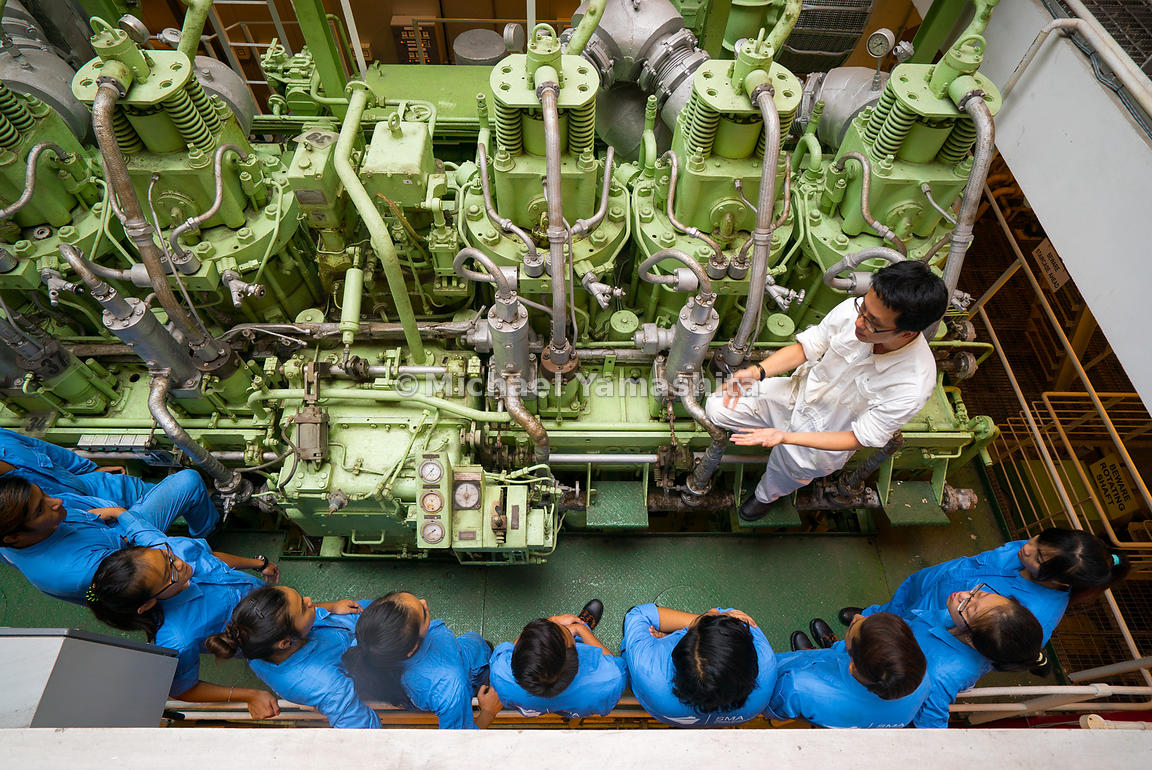 Mr Ng Guo Yi keeps his students in thrall as he explains the many intricate parts of a ship's engine and how they coordinate as one powerful force, providing incredible thrust to move large vessels in and out of port.