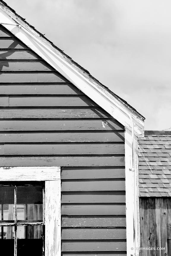 OLD RED FISHING SHACK GLOUCESTER CAPE ANN MASSACHUSETTS BLACK AND WHITE VERTICAL