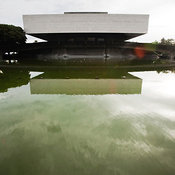 Cultural Center of the Philippines building with reflecting pool, Pasay City, Manila, Philippines