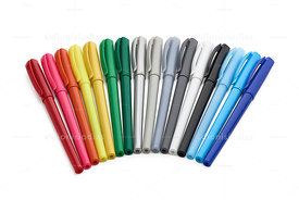 Set of colored pens in fan format