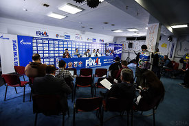 Press Conference during the Final Tournament - Final Four - SEHA - Gazprom league, Gold Medal Match Vardar - Telekom Veszprém, Belarus, 09.04.2017, Mandatory Credit ©SEHA/ Nebojša Tejić..