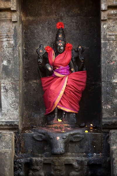 India - Kumbakonam - A dressed Chola period idol that has been worshipped at the Airatesvara Temple in Dharasuram