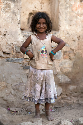 Happy low income girl in Pushkar, Rajasthan, India
