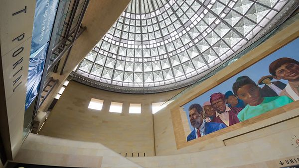 Medium Sht: Panning Union Station's Glass Dome & Murals