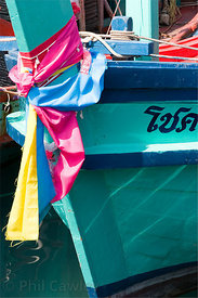 blue, fishing boat bow,