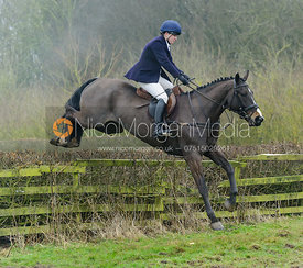 Harriet Walker jumping a hedge at Town Park Farm