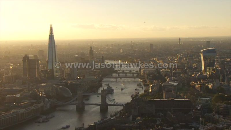 Aerial footage of Tower Bridge at sunset, London