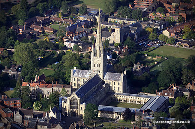 aerial photograph of Norwich Cathedral  , Norfolk, England UK