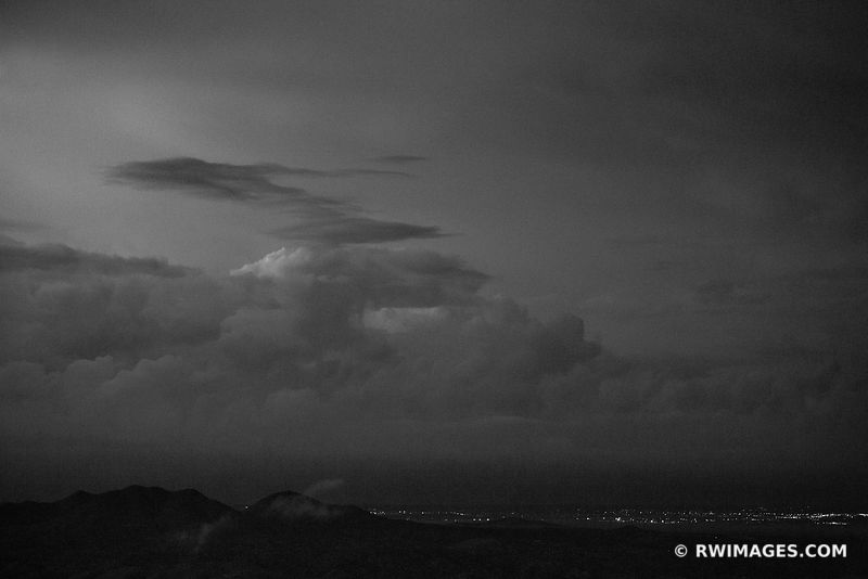 EVENING NIGHT CLOUDS CITY LIGHTS NORTHERN NEW MEXICO BLACK AND WHITE