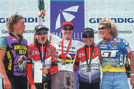 ALISON SYDOR AWARD CEREMONY MONT STE ANNE, QUEBEC, CANADA. GRUNDIG WORLD CUP 1996