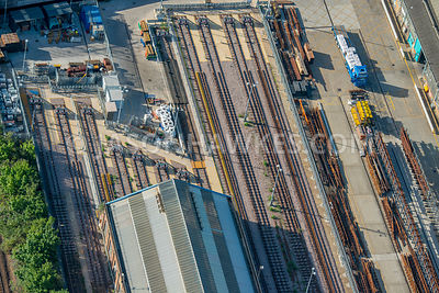Aerial view of London, close up of railway tracks and sidings.