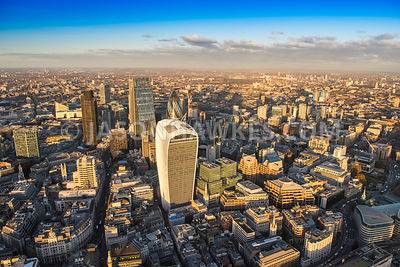 Aerial view of London, City of London skyline Leadenhall Building.