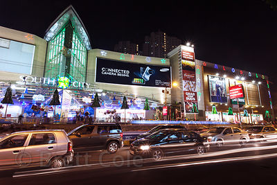 Nighttime exterior view of South City Mall in Kolkata, India at Christmas time. South City is the largest mall in East India. Christmas is celebrated enthusiastically in Kolkata.