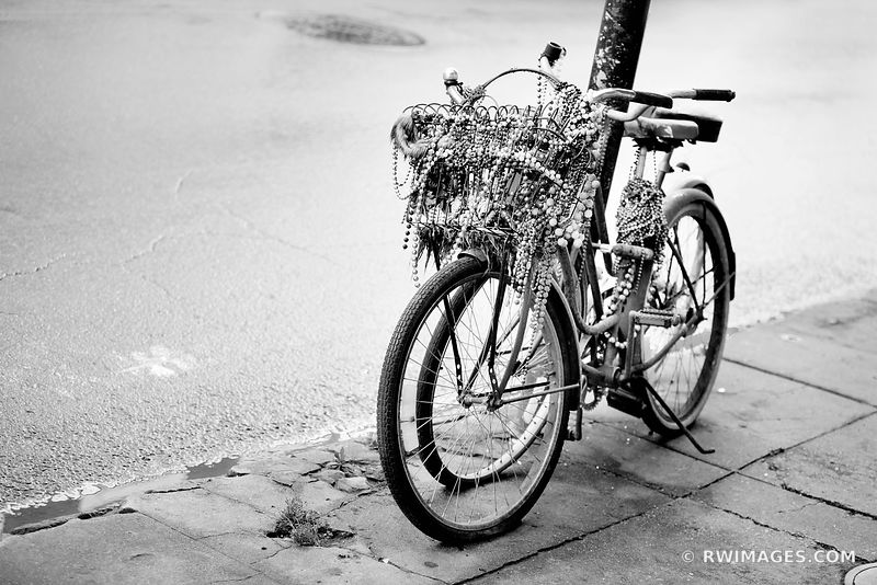 BIKE WITH BEADS FRENCH QUARTER NEW ORLEANS LOUISIANA BLACK AND WHITE