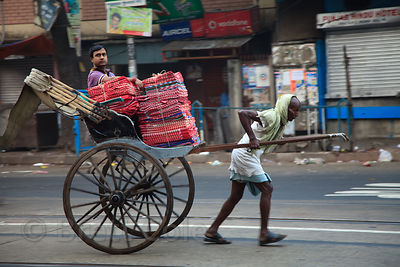 A rickshaw puller in the Shyambazar area of Kolkata, India.