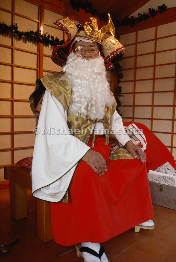 "In Los Angeles' Little Tokyo district, Jiro Uchida adds a beard to traditional garb to play ""Shogun Santa."" In like fashion, his fellow Japanese Americans draw from two societies to create a culture uniquely their own."