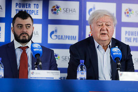 Boris Sapozhnikov and Mihajlo Mihajlovski during the Final Tournament - Final Four - SEHA - Gazprom league, Closing Press Conference, Belarus, 09.04.2017, Mandatory Credit ©SEHA/ Stanko Gruden..