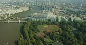 London Aerial Footage of Battersea Park and Battersea Power Station.