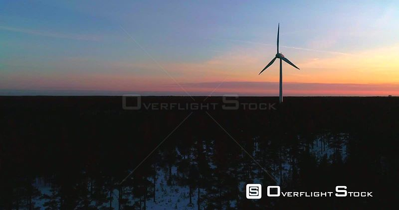 Wind Power Generators, 4k Aerial Sideway View of a Power Plant With Several Renewable Energy Propellers, Cold Sunny Winter Evening Dawn, Hanko, Uusimaa, Finland_1