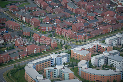 Aerial view of modern housing estate and flats