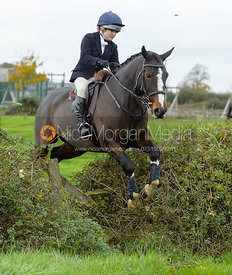 Marianne Knipe jumping a hedge near the meet in Long Clawson